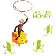 Catching money concept
