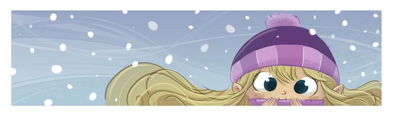 niña mirando la nieve