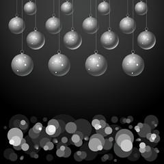silver balls on black background