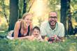 Happy family interracial