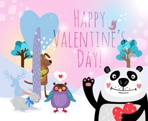 Vector animals with hearts on Valentines Day for cards and