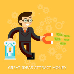 Great ideas attract money. Businessman holding magnet attracting