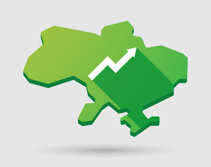 Ukraine green map icon with a graph