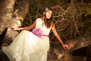 brunette bride in long white wedding dress