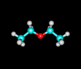 Diethyl ether molecule isolated on black