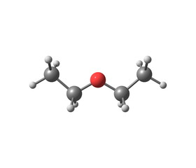 Diethyl ether molecule isolated on white