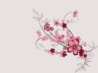Abstract ornament of pink flowers .