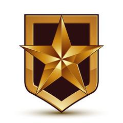 3d heraldic vector template with pentagonal golden star, dimensi