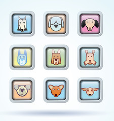Dog breed collection icons - vector illustration.