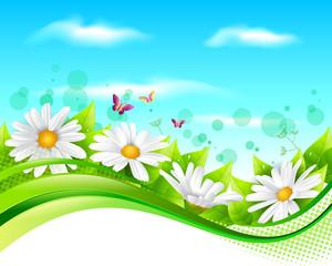 Flower and leaf banner