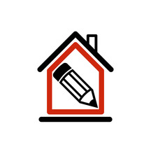 Architectural design conceptual symbol, simple house icon with e