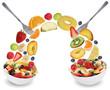 canvas print picture - Fruchtsalat essen mit Früchte wie Orange, Apfel, Banane, Pfirsi