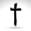 Hand drawn black grunge cross icon, simple Christian cross sign, - 76981759