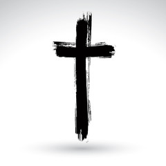 Hand drawn black grunge cross icon, simple Christian cross sign,