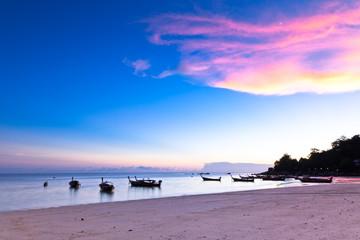 Boats at the beach of Koh Lipe Island, Thailand.