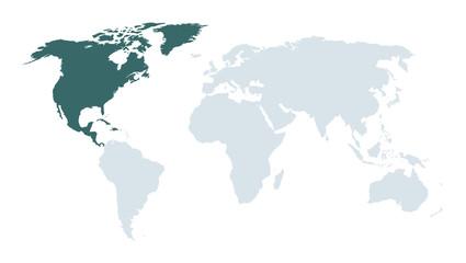 world map high lighting north America