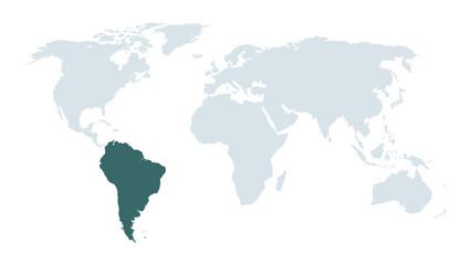 world map high lighting south America