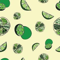 Seamless green lemon pattern