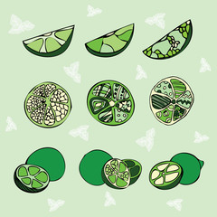 set of 9 limes