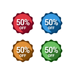 50 % Off Sale Flat Badges