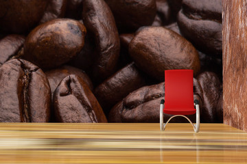 Red chair on wood with coffee bean background