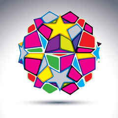 Vector abstract complex 3d orb, kaleidoscope. Bright sphere crea
