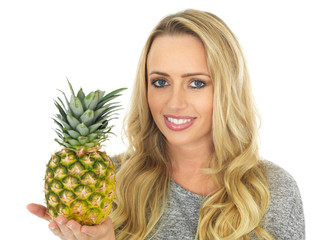 Young Woman Holding a Pineapple