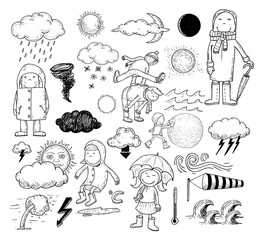 weather elements, vector illustration.