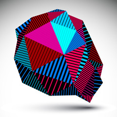 Deformed asymmetric vivid element with parallel lines. Colorful
