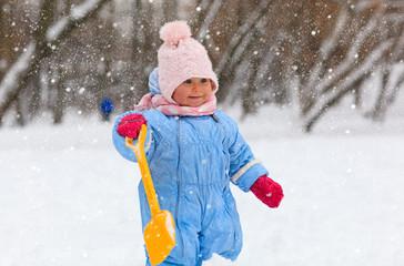 cute little toddler girl in winter