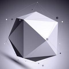 3D vector abstract design scientific template, spherical complic