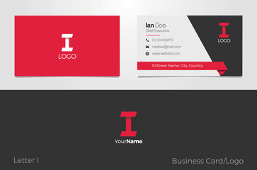 I Letter Logo Corporate Business card