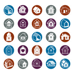 Cottages collection, real estate and construction theme. Houses