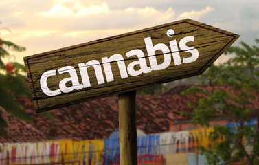 Cannabis wooden sign with an alternative background