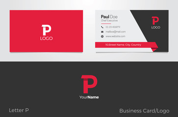 P Letter Logo Corporate Business card