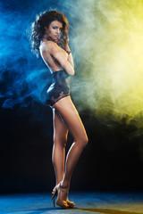 Elegant beautiful sexy woman posing in sensual lingerie