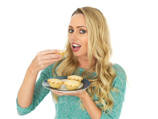 Young Woman Holding Mince Pies