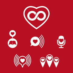 Love theme vector icons set, conceptual valentine and romantic s