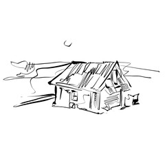 Black and white hand drawn house, illustrated country house.