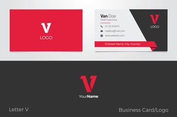 V Letter Logo Corporate Business card