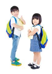 Smart asian kindergarten school kids