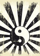 grunge yin yang flag