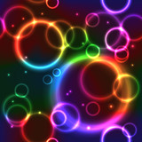 Fototapety Seamless Background with Rainbow Neon Circles
