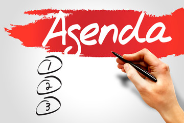 AGENDA blank list, business concept