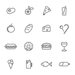 Food black line icons vector collection