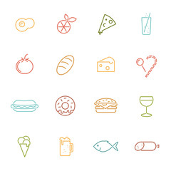 Food colored line icons vector collection