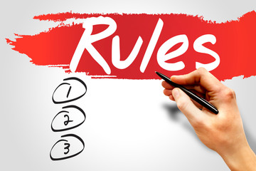 Rules blank list, business concept