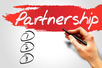 Partnership blank list, business concept