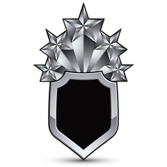 Sophisticated vector blazon with five silver stars, silvery 3d d
