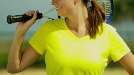 Portrait Active Young Caucasian Female Enjoying Tennis